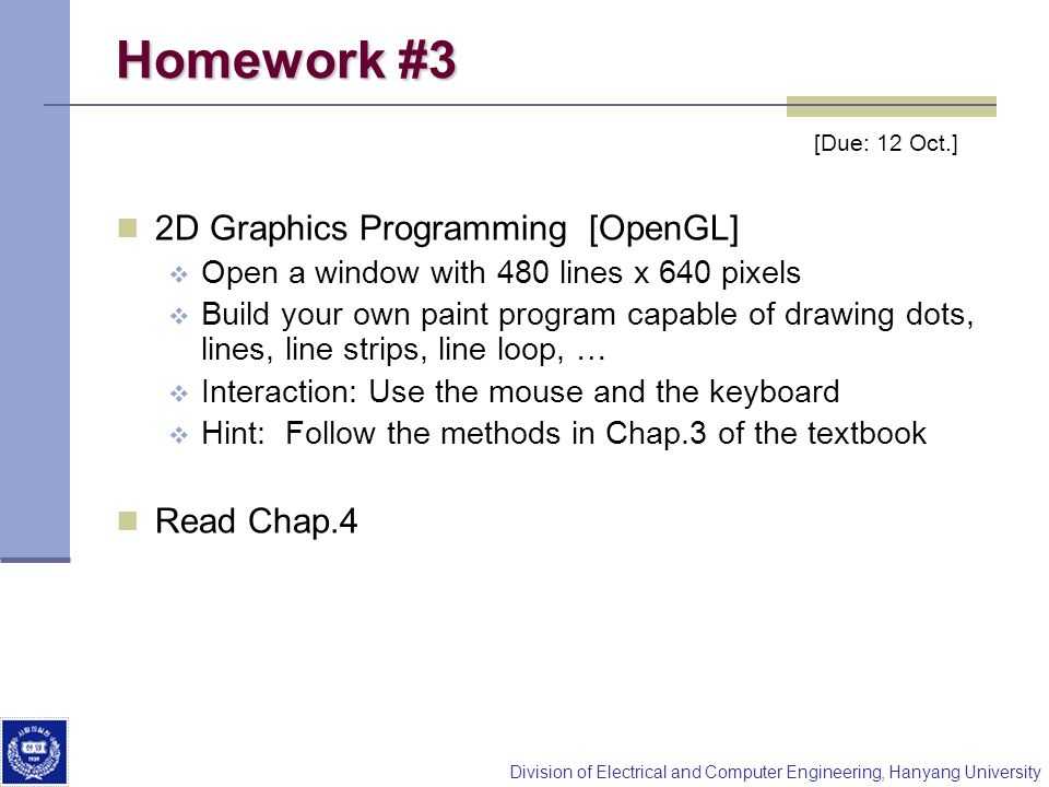 Homework #3 2D Graphics Programming [OpenGL] Read Chap.4